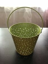New!! Yellow Easter Basket Easter Pail Bucket Green Interior And Circle Cutouts