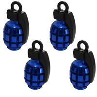 4 bouchons de valve auto vélo moto en forme de grenade couleur bleu/noir