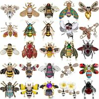 Vintage Bee Animals Crystal Enamel Brooch Pin Badge Chic Insects Jewelry Gifts