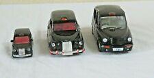 3 BLACK LONDON  TAXI CABS 1 CORGI AND 2 MOTOR MAX