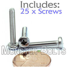 M3 x 20mm - Qty 25 - Stainless Steel Phillips Pan Head Machine Screws DIN 7985 A