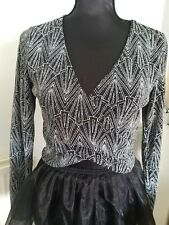 H&M Black & Silver Crop Sequin Glitter Crossover Crop Top Size Large - New