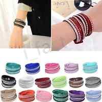 Fashion Leather Wrap Wristband Charm Crystal Rhinestone Cuff Bracelet Bangle