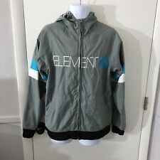 Mens Element Gray Skate Surf Hooded Windbreaker Jacket Size Small