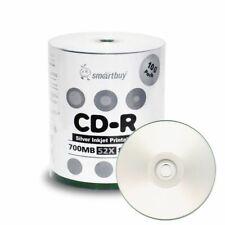 100 Smartbuy CD-R 52X 700MB/80Min Silver Inkjet Printable Blank Recording Disc