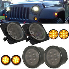 Car Front Fender LED Side Marker Light Smoke Lens for 07-17 Jeep Wrangler JK