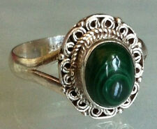 Sterling Silver Traditional Asian Vintage Style Malachite Stone Ring Size Q Gift