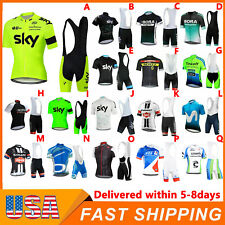 Mens Cycling Short Sleeve Jersey Bib Shorts Suit Summer Team Bike Uniform 2021