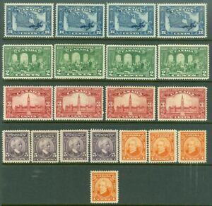 EDW1949SELL : CANADA 1927 Scott #141-45. 4 sets. Very Fine, Mint OG. Cat $160.00