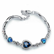 Women Lady Blue Crystal Jewelry Silver Plated Charm Bracelet Bangle Jewelry Gift