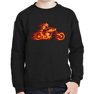 Flaming Rider Kids Sweatshirt Flame Ghost Motorcycle Long Sleeve - 1335C