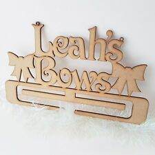 Personalised Bow Holder Hanging Mdf gift craft Wood Clip Ribbons Bobbles Holder