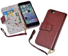 iPhone 6 (4.7 Inch) Premium PU Leather Wallet Case - Red with Floral Interior
