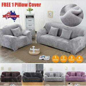 Velvet Plush Sofa Cover Stretch Couch Cover Furniture Protector 1/2/3/4 Seater