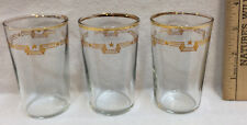 Juice Drinking Glass Cup Tumbler Vintage Gold Star Trim Set 3 Triple Line 3.5""
