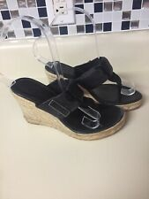 Burberry Black Leather Thong Wedges Sandals Sz 35 US 5 Espadrille