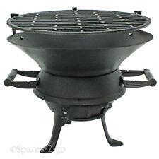 Negro portátil hierro fundido Carbón Barbacoa REJILLA Pozo de fuego jardín