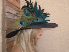 peacock hat feather blue dress Kentucky derby formal fancy