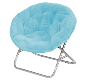 Faux-Fur Saucer Chair, Comfortable Portable Fuzzy Seating, Multiple Colors, NEW