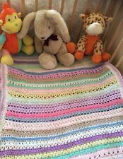 Handmade Crochet Baby Girl Blanket Unique Baby Girls Gift|Pink White Lilac Multi