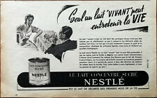 Nestle Sugar Concentrated Milk, Only Living Milk ... Vintage French Advert 1951