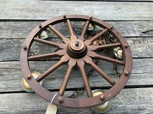"VINTAGE 24""  WOODEN WAGON WHEEL LIGHT FIXTURE  With 5 LIGHTS"