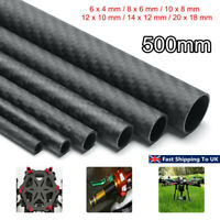 3K 500mm Carbon Fiber Tube Pipe Matte RC Air Model Part Accessories 6-20mm  H