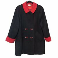 Vtg Charles Klein Wool Peacoat Button Car Coat Half Trench Gray Red USA Union L