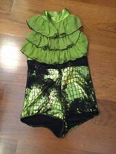 Art Stone Costume Style 2065 XLC Lime Green Black Shortle Leotard
