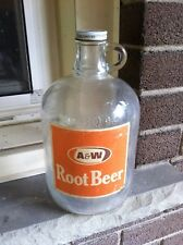 VINTAGE A&W 80 FLUID OZ. ROOT BEER ORANGE JUG MADE IN CANADA