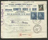 BELGIUM 1942 CENSOR COVER BRUXELLES TO LE HAVRE (FRANCE) W/ADVERTISIN