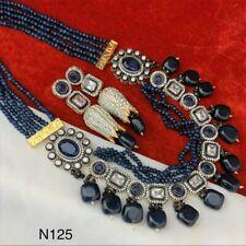 Bollywood Kundan Choker Necklace Set Gold Plated Bridal Indian Pearl Jewelry Set