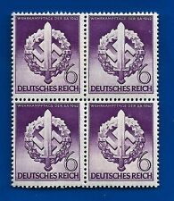 1942 WW2 Nazi Germany 3rd Third Reich SA Wreath Swastika stamp block MNH **