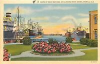 Mobile Alabama~State Docks~Ships of Many Nations~1936 Postcard