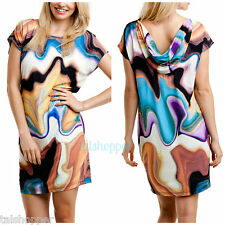 MUSE Draped Back Graphic Watercolor Jersey Knit Shift Day Dress NWT 12 $169