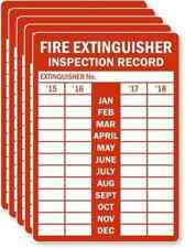 20*  Fire Extinguisher Inspection Record Last Year, Laminated Vinyl Label CHEAP