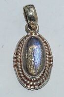 Sterling Silver Ethnic Asian Vintage Style Handmade Labradorite Pendant Gift