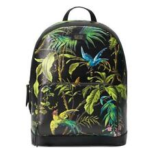 NEW GUCCI LARGE BLACK TEXTURED LEATHER SHANGHAI TROPICAL INFUSED BACKPACK BAG