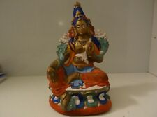 MONGOLIAN TIBETAN  BUDDHIST LARGE CLAY STATUE OF A GREEN TARA