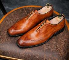 Mens Brogue Carved Breathable Pointy Toe Lace up Leather Oxfords Fromal Shoes SZ