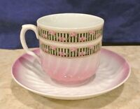 White and Pink  Cup and Saucer made in Germany