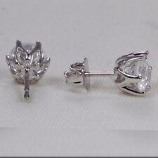 1 Carat Round Enhanced Diamond D/SI2 Stud Earrings 6 Prongs 14K White Gold