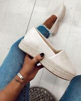 Womens Ladies Espadrilles Comfy Platform Pumps Summer Slip On Loafers Shoes TIK