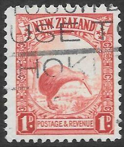 NEW ZEALAND 1935 1d single wmk. P.13 1/2*14, FU slaogan cancel. SG557b. Cat.£65.