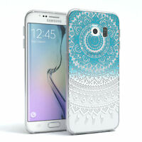 Hülle für Samsung Galaxy S6 Edge Schutz Cover Handy Case Motiv Blau / Weiß