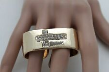 Women Wide Ring Gold Metal Double 2 Fingers Bling Jewelry Cross One Size Band