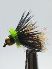 12QTY FLYING  CIRCUS  CADD  CHART/GREEN Fly Fishing Flies size 12