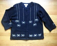 Black Cardigan Sweater Beaded Sequin Spiders Moving Legs Web Size L