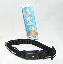 "NEW LED Visiglo Dog Collar Nylon Lights Up S 10""-14"" Black Red White Blue Lights"
