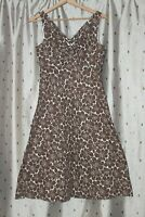 Boden ~ Lined Brown Floral Sleeveless Cotton Dress ~ Size 8 R